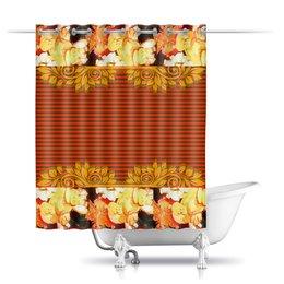 """Шторы в ванную """"Королевский шик."""" - узор, орнамент, шик, цветник, бегонии"""