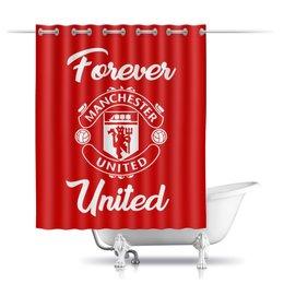 """Шторы в ванную """"Манчестер Юнайтед"""" - манчестер юнайтед, manchester united, футбольный клуб, красные дьяволы, мю"""