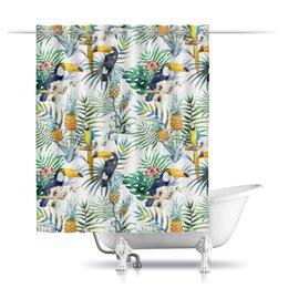 """Шторы в ванную """"Экзотический птицы"""" - попугай, пальма, лето, экзотика, тропики"""
