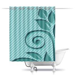 """Шторы в ванную """"Мятная фантазия."""" - узор, полоска, фантазия, мятный цвет, полосочка"""