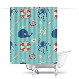 """Шторы в ванную """"Морская"""" - море, якорь, осминог, штурвал, морской"""