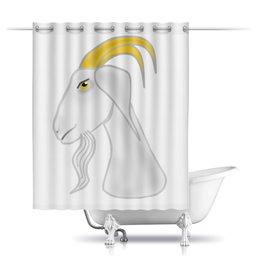 """Шторы в ванную """"Без названияГолова белого козла"""" - голова, злость, изумление, белый козел, удивленный козел"""