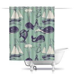 """Шторы в ванную """"Забавные киты"""" - море, якорь, кит, яхты"""