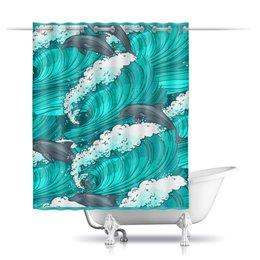"""Шторы в ванную """"Дельфины"""" - лето, море, волна, дельфин"""
