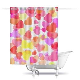 """Шторы в ванную """"Водопад из разноцветных сердец"""" - сердца, день святого валентина, романтика, валентинка, чувства"""
