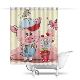 """Шторы в ванную """"Поросёнок"""" - бабочка, цветок, свинья, 2019, год свиньи"""