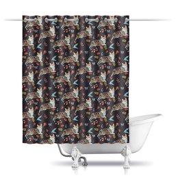 """Шторы в ванную """"Осенний роман"""" - собака, корги, пемброк"""
