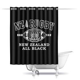 """Шторы в ванную """"НЗ Регби Маори стайл"""" - спорт, регби, новая зеландия, маори"""