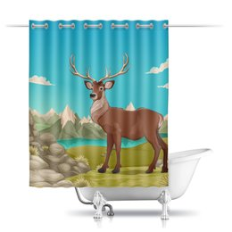 """Шторы в ванную """"Горный пейзаж"""" - животные, горы, олень"""