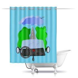 """Шторы в ванную """"Дорога к облакам или путешествие к мечте"""" - цель, путешествие, дорога к облакам, путь к мечте, вперед и вверх"""