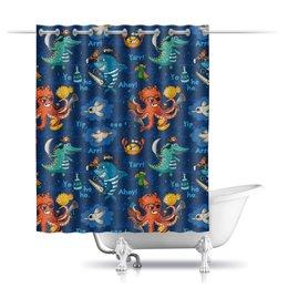 """Шторы в ванную """"Пират"""" - море, осьминог, животное, пират, акула"""