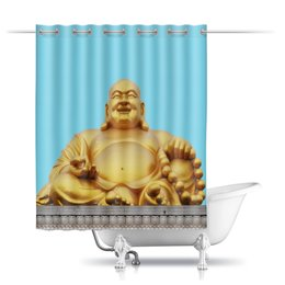"""Шторы в ванную """"Статуя Будды и небо"""" - будда, буддизм, философия, эзотерика, религия"""