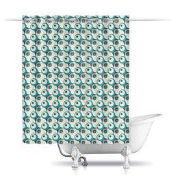"""Шторы в ванную """"Круги"""" - серый, белый, черный, голубой, круг"""
