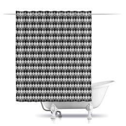"""Шторы в ванную """"Три оттенка серого"""" - узор, серый, геометрия, ромб, фон"""