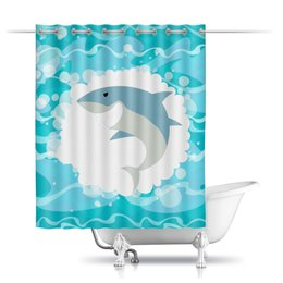"""Шторы в ванную """"Акула( Baywatch)"""" - baywatch, волны, акула, лето, море"""
