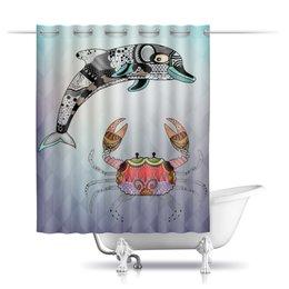 """Шторы в ванную """"дельфин"""" - дельфин, краб, рак"""