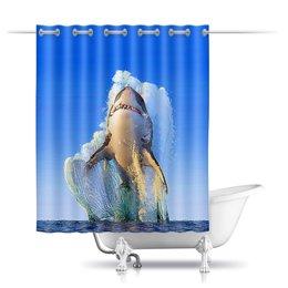 "Шторы в ванную ""Shark Design"" - море, рыба, рыбалка, экстрим, акула"