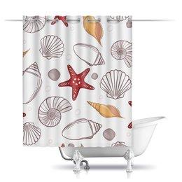 """Шторы в ванную """"Морская"""" - узор, рисунок, ракушка, морская звезда"""