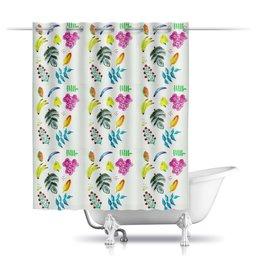 """Шторы в ванную """"Фрукты"""" - лето, цветы, листья, ягоды, бананы"""