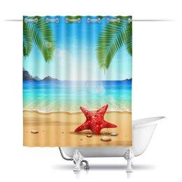 """Шторы в ванную """"Тропическая"""" - солнце, пальма, море, пляж, тропический"""