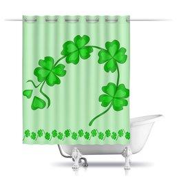 """Шторы в ванную """"День святого Патрика - волшебный четырехлистник"""" - зеленый, паттерн, лист клевера, день святого патрика, четырехлистник"""