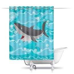 """Шторы в ванную """"Акула( Baywatch)"""" - лето, море, волны, акула, baywatch"""