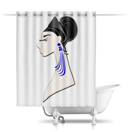 """Шторы в ванную """"Девушка в синих сережках"""" - очки, брюнетка, перья, красивая женщина, синие длинные серьги"""