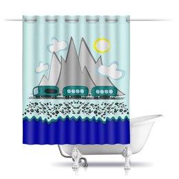 """Шторы в ванную """"Путешествие на поезде вдоль моря и гор"""" - отдых, россия, сочи, отпуск, хочу на море"""