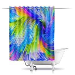 "Шторы в ванную ""Abstract Rainbow"" - радуга, цвета, краски, абстракция"