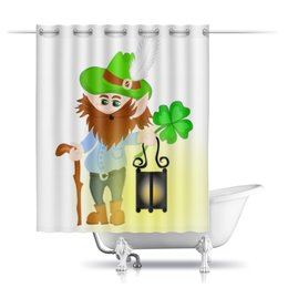 """Шторы в ванную """"Лепрекон с фонарем и волшебный клевер"""" - клевер, фонарь, день святого патрика, карлик, четырехлистник"""