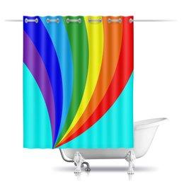 """Шторы в ванную """"Радужное настроение."""" - радуга, счастье, радость, бирюзовый, радужный"""