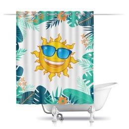"""Шторы в ванную """"Солнце"""" - лето, солнышко, очки, тропические листья"""