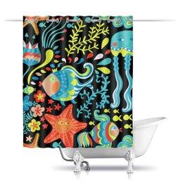 """Шторы в ванную """"Обитатели моря"""" - лето, море, рыбки, осьминог, морская звезда"""