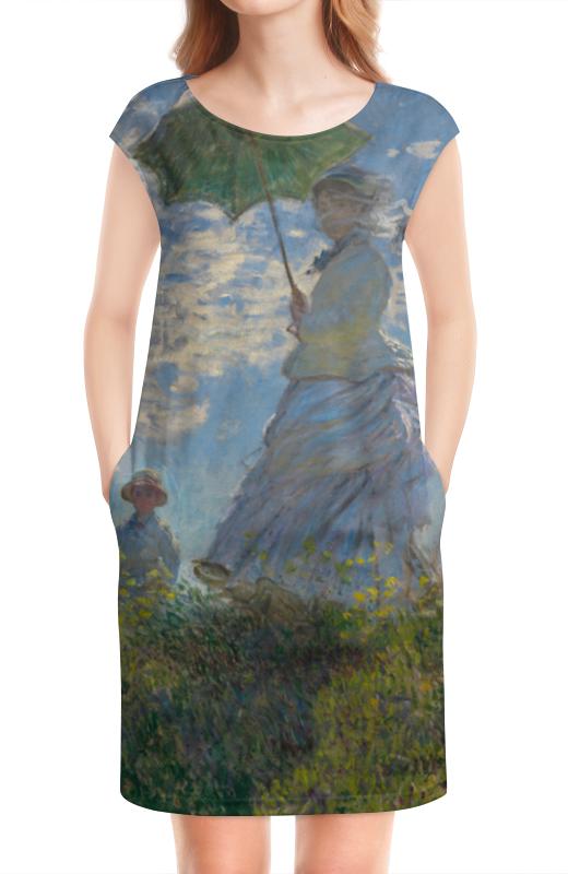 Платье без рукавов Printio Дама с зонтиком — мадам моне со своим сыном картина из кожи дама с зонтиком моне коллекция elole interior синий сплошн холст прямоуг рама