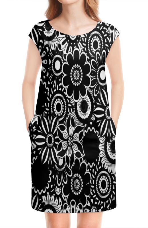 цена Платье без рукавов Printio Черно-белые цветы онлайн в 2017 году