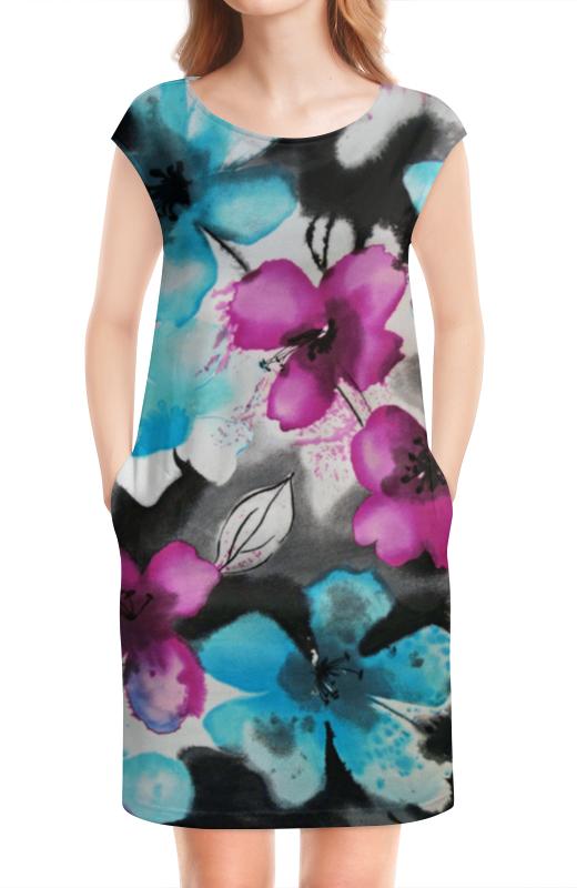 Платье без рукавов Printio Цветы, акварель.