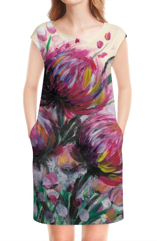 Платье без рукавов Printio Розовые хризантемы