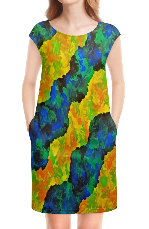 Платье без рукавов Printio Желто-синие волны
