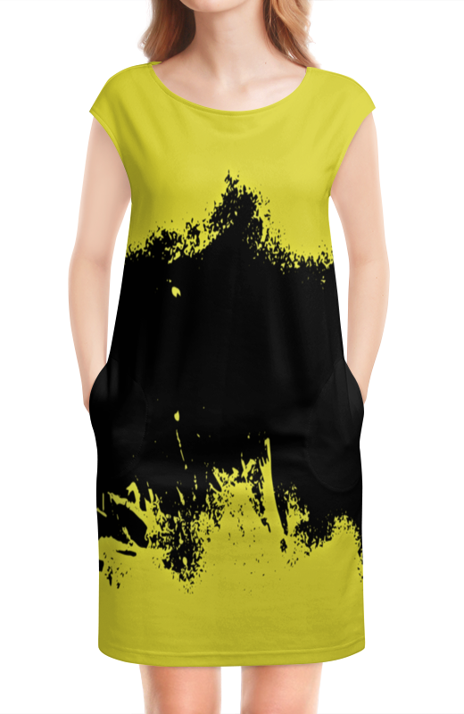 цена Платье без рукавов Printio Черно-желтые краски онлайн в 2017 году