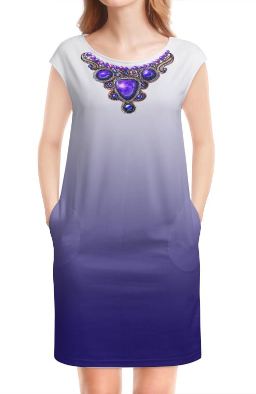 цена Платье без рукавов Printio Синее градиентное платье с украшением онлайн в 2017 году