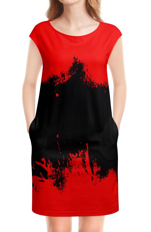 цена Платье без рукавов Printio Черно-красные краски онлайн в 2017 году