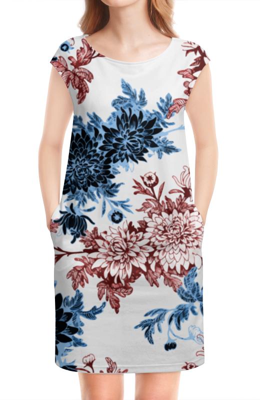 Платье без рукавов Printio Хризантемы татьяна шпинькова белые хризантемы