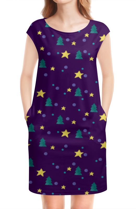Платье без рукавов Printio Елки и звезды