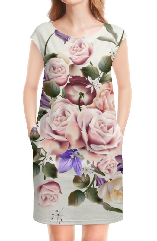 Платье без рукавов Printio Розочки латексные искусственные розочки в розницу москва