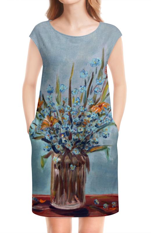 Платье без рукавов Printio Незабудковое