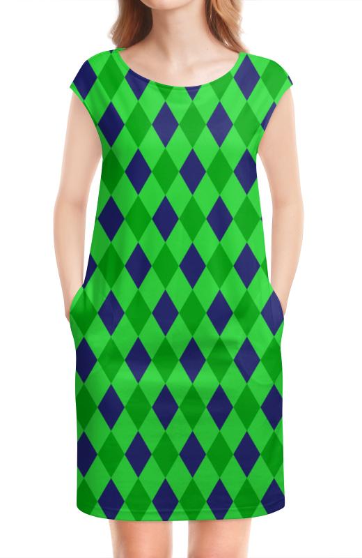 Платье без рукавов Printio Сине-зеленые квадраты платье с рукавами printio сине зеленые квадраты