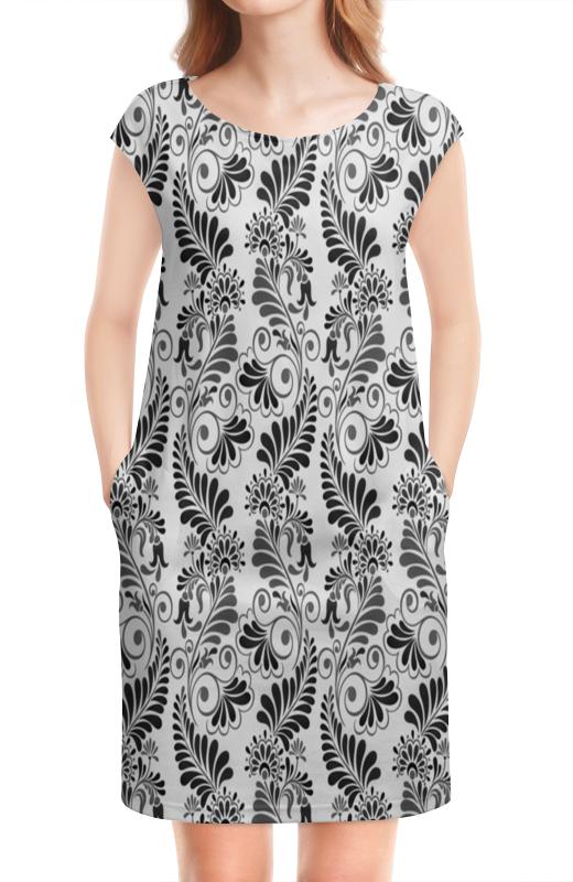 цена Платье без рукавов Printio Черно белая роспись онлайн в 2017 году