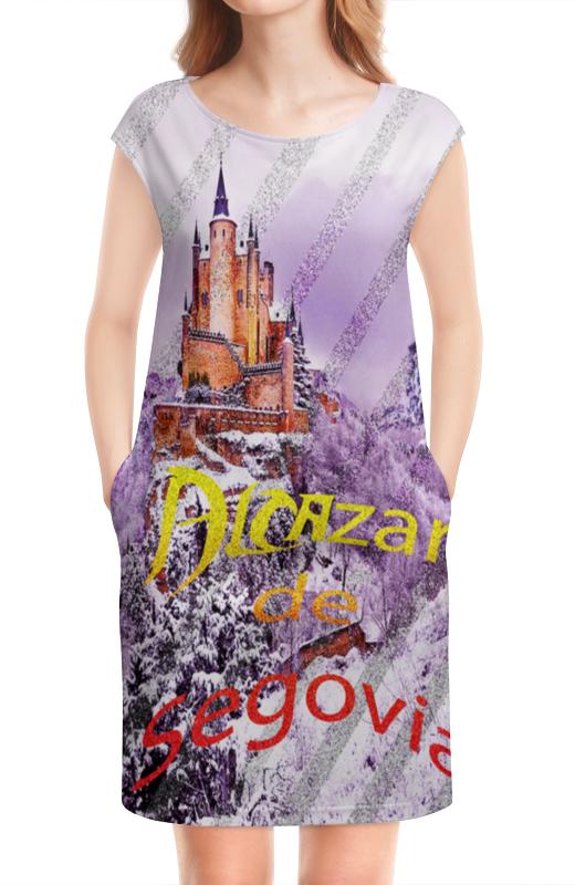 Платье без рукавов Printio Испанский замок сеговия. deroace велосипедный цепной стальной замок для электрокара электро мотороллера мотора