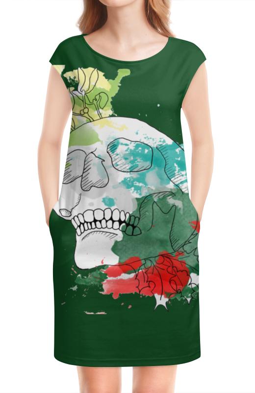 Платье без рукавов Printio Череп акварель