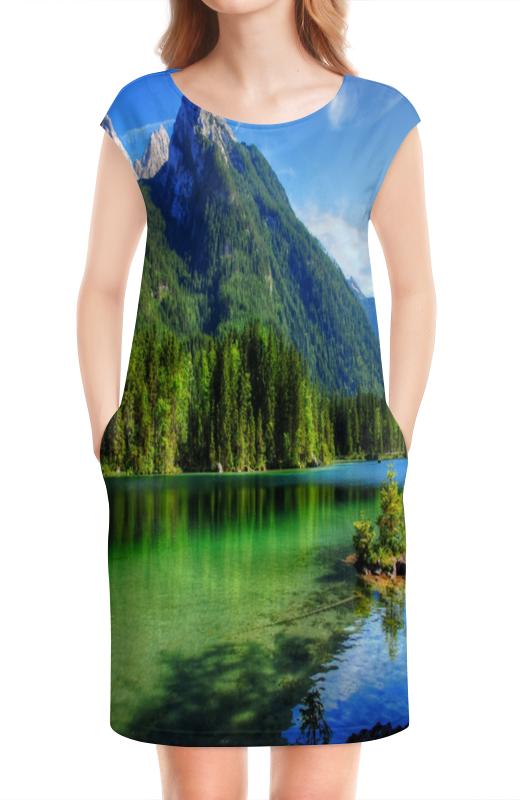 Платье без рукавов Printio Горное озеро горное гнездо